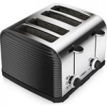 TOWER T20008 Linear 4-Slice Toaster – Black, Black