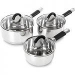 TOWER T80835 3-piece Non-stick Saucepan Set – Stainless Steel, Stainless Steel