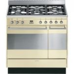 SMEG Concert 90 cm Dual Fuel Range Cooker – Cream & Stainless Steel, Stainless Steel