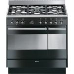 SMEG Concert 90 cm Dual Fuel Range Cooker – Black & Stainless Steel, Stainless Steel