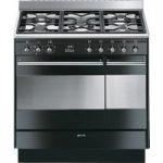 SMEG Concert 90 cm Dual Fuel Range Cooker – Black & Stainless Steel, Stainless Steel