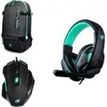 PORT DESIGNS Arokh H-1 Headset & X-1 Optical Mouse & BP-1 15.6″ Laptop Backpack Gaming Pack