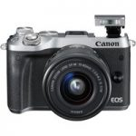 CANON EOS M6 Mirrorless Camera with 15-45 mm f/3.5-6.3 Wide-angle Zoom Lens – Silver, Silver