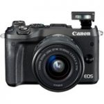 CANON EOS M6 Mirrorless Camera with 15-45 mm f/3.5-6.3 Wide-angle Zoom Lens – Black, Black