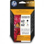 HP 62 Instant Black & Tri Colour Ink with HP Instant Ink Enrolment – £24 credit, Black