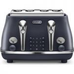 DELONGHI Elements CTOE4003.BL 4-Slice Toaster – Ocean Blue, Blue