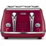 DELONGHI Elements CTOE4003.R 4-Slice Toaster – Red, Red