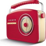 AKAI A60010RDABBT Portable DABﱓ Retro Bluetooth Clock Radio – Red, Red