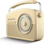 AKAI A60010CDABBT Portable DABﱓ Retro Bluetooth Clock Radio – Cream, Cream