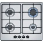 BOSCH Serie 4 PGP6B5B60 Gas Hob – Stainless Steel, Stainless Steel