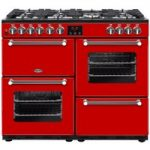 BELLING Kensington 100DFT Dual Fuel Range Cooker – Red & Chrome, Red