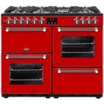 BELLING Kensington 100DFT Dual Fuel Range Cooker – Red & Chrome, Red