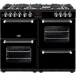 BELLING Kensington 100DFT Dual Fuel Range Cooker – Black & Chrome, Black