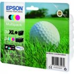 EPSON 34 Golf Ball Cyan, Magenta & Yellow Ink Cartridges – Multipack, Cyan