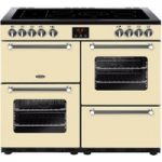 BELLING Kensington 100E Electric Ceramic Range Cooker – Cream & Chrome, Cream