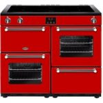 BELLING Kensington 100Ei Electric Induction Range Cooker – Red & Chrome, Red