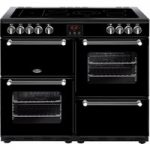 BELLING Kensington 100E Electric Ceramic Range Cooker – Black & Chrome, Black