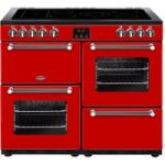 BELLING Kensington 100E Electric Ceramic Range Cooker – Red & Chrome, Red