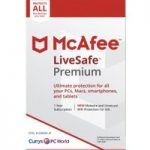 MCAFEE LiveSafe Premium – 1 user / unlimited devices for 1 year