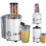 RUSSELL HOBBS 22700 3-in-1 Ultimate Juicer, Citrus Press & Blender – White & Chrome, White