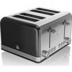 SWAN Retro ST19020BN 4-Slice Toaster – Black, Black