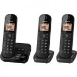 PANASONIC KX-TGC423EB Cordless Phone with Answering Machine – Triple Handsets