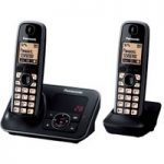 PANASONIC KX-TG6622EB Cordless Phone with Answering Machine – Twin Handsets