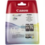 CANON PG-510/CL-511 Black & Colour Ink Cartridges – Twin Pack, Black
