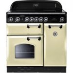 RANGEMASTER Classic 90 Electric Ceramic Range Cooker – Cream & Chrome, Cream