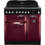 RANGEMASTER Elan 90 Electric Induction Range Cooker – Cranberry & Chrome, Cranberry