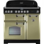 RANGEMASTER Classic Deluxe 90 Electric Induction Range Cooker – Olive Green & Chrome, Olive