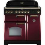 RANGEMASTER Classic Deluxe 90 Electric Induction Range Cooker – Cranberry & Brass, Cranberry