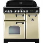 RANGEMASTER Classic Deluxe 90 Electric Induction Range Cooker – Cream & Chrome, Cream