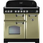 RANGEMASTER Classic Deluxe 90 Electric Ceramic Range Cooker – Olive Green & Chrome, Olive