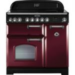 RANGEMASTER Classic Deluxe 90 Electric Ceramic Range Cooker – Cranberry and Chrome, Cranberry