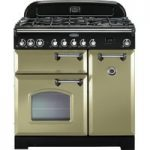 RANGEMASTER Classic Deluxe 90 Dual Fuel Range Cooker – Olive Green & Chrome, Olive