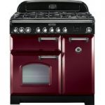 RANGEMASTER Classic Deluxe 90 Dual Fuel Range Cooker – Cranberry & Chrome, Cranberry