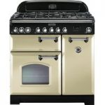 RANGEMASTER Classic Deluxe 90 Dual Fuel Range Cooker – Cream & Chrome, Cream
