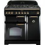 RANGEMASTER Classic Deluxe 90 Dual Fuel Range Cooker – Black & Brass, Black
