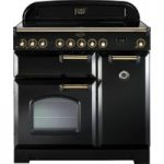 RANGEMASTER Classic Deluxe 90 Electric Induction Range Cooker – Black & Brass, Black