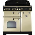 RANGEMASTER Classic Deluxe 90 Electric Induction Range Cooker – Cream & Brass, Cream