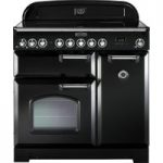 RANGEMASTER Classic Deluxe 90 Electric Range Cooker – Black & Chrome, Black