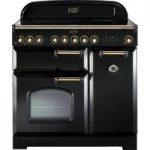 RANGEMASTER Classic Deluxe 90 Electric Range Cooker – Black & Brass, Black