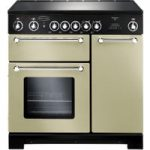 RANGEMASTER Kitchener 90 Electric Ceramic Range Cooker – Cream & Chrome, Cream