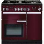 RANGEMASTER Professional 90 Gas Range Cooker – Cranberry & Chrome, Cranberry