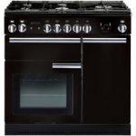 RANGEMASTER Professional 90 Dual Fuel Range Cooker – Black & Chrome, Black