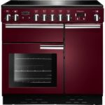 RANGEMASTER Professional 90 Electric Ceramic Range Cooker – Cranberry & Chrome, Cranberry