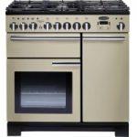 RANGEMASTER Professional Deluxe 90 Dual Fuel Range Cooker – Cream & Chrome, Cream
