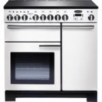 RANGEMASTER Professional Deluxe 90 Electric Induction Range Cooker – White & Chrome, White