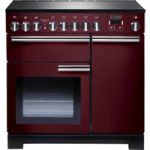 RANGEMASTER Professional Deluxe 90 Electric Induction Range Cooker – Cranberry & Chrome, Cranberry